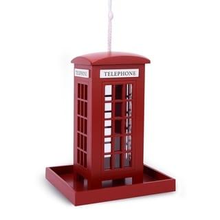 Outdoor Wooden Birdhouse, Bird-Friendly Perch (London Telephone Booth Feeder)