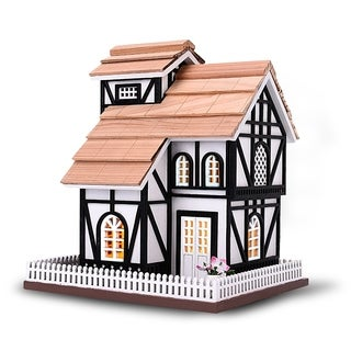 Modern Home Outdoor Wooden Birdhouse, Bird-Friendly Perch (Euro Cottage)