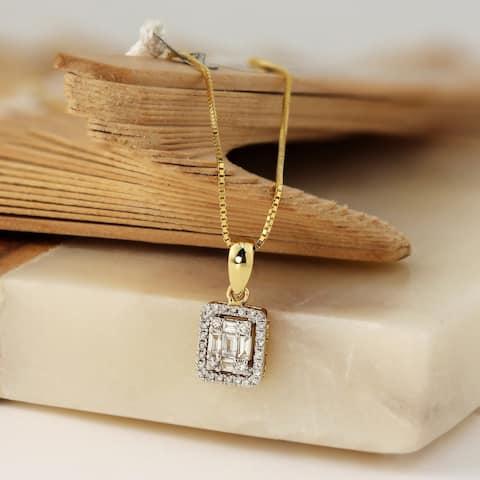 Auriya 1/3cttw Emerald Halo Diamond Necklace 14k Gold