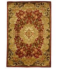 Safavieh Handmade Classic Juliette Rust/ Green Wool Rug - 5' x 8'