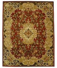 Safavieh Handmade Classic Juliette Rust/ Green Wool Rug - 7'6 x 9'6