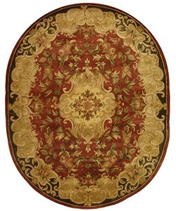 Safavieh Handmade Classic Juliette Rust/ Green Wool Rug (7'6 x 9'6 Oval)
