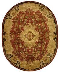 "Safavieh Handmade Classic Juliette Rust/ Green Wool Rug - 7'6"" x 9'6"" oval"