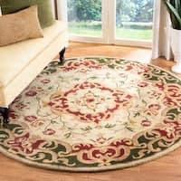 Safavieh Handmade Classic Juliette Ivory/ Green Wool Rug - 6' x 6' Round