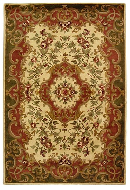 Safavieh Handmade Classic Juliette Ivory/ Green Wool Rug (6' x 9')