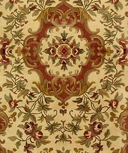 Safavieh Handmade Classic Juliette Ivory/ Green Wool Rug (6' x 9') - Thumbnail 2