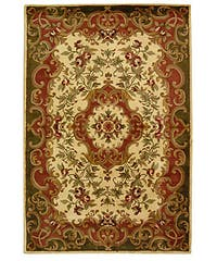 Safavieh Handmade Classic Juliette Ivory/ Green Wool Rug - 6' x 9'