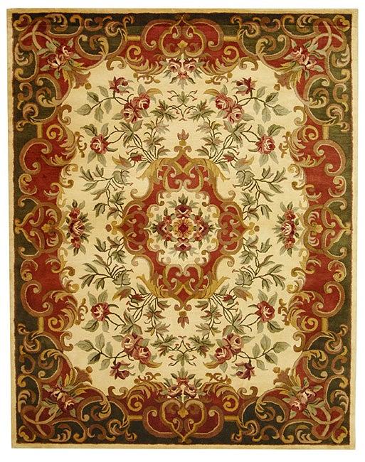"Safavieh Handmade Classic Juliette Ivory/ Green Wool Rug - 7'6"" x 9'6"""