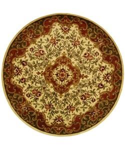 Safavieh Handmade Classic Juliette Ivory/ Green Wool Rug (8' Round)