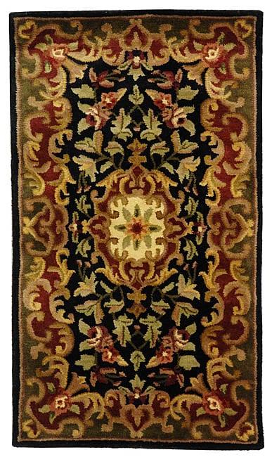 Safavieh Handmade Classic Juliette Black/ Green Wool Rug (2' x 3')