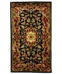 Safavieh Handmade Classic Juliette Black/ Green Wool Rug - 2' x 3'