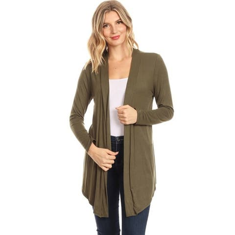 Women's Solid Basic Open Draped Front Long Sleeve Relaxed Cardigan Sweater