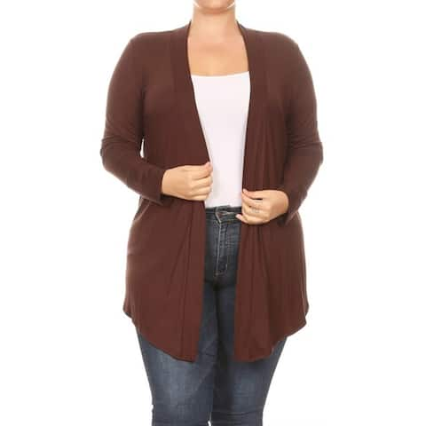 Women's Solid Basic Plus Size Relaxed Cardigan Sweate