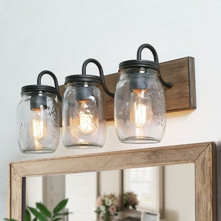 """Rustic Vanity Lighting with Glass Shade Wall Sconces for Bathroom - W18""""x H8""""x E9.5"""""""
