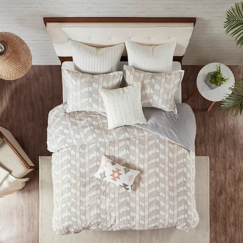 The Curated Nomad Natalis Grey/Blush Cotton Jacquard Duvet Cover Set