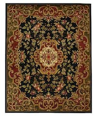 "Safavieh Handmade Classic Juliette Black/ Green Wool Rug - 7'6"" x 9'6"""