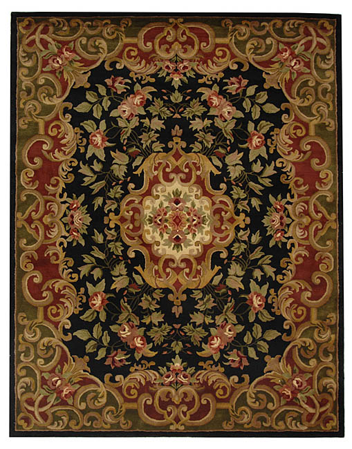 "Safavieh Handmade Classic Juliette Black/ Green Wool Rug - 8'3"" x 11'"