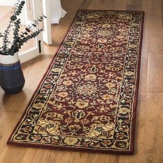 Safavieh Handmade Classic Kerman Burgundy/ Navy Wool Runner (2'3 x 10')
