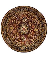 """Safavieh Handmade Classic Kerman Burgundy/ Navy Wool Rug - 3'6"""" x 3'6"""" round"""