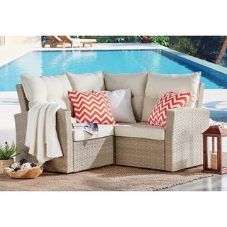 Canaan All-Weather Wicker Corner Sectional Sofa with Cushions