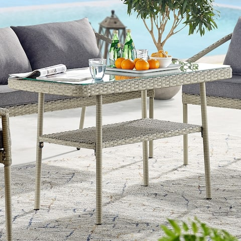 Lachica Outdoor Wicker Tall Rectangular Cocktail Table by Havenside Home