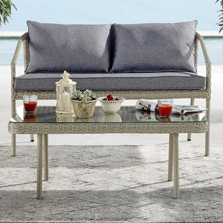 "Windham All-Weather Wicker Outdoor 42""L Coffee Table with Glass Top"