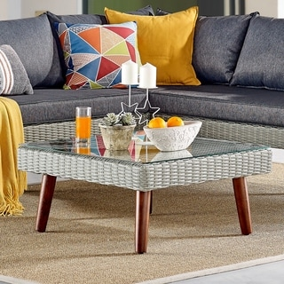 Havenside Home Bayden Grey All-weather Wicker Square Coffee Table with Glass Top