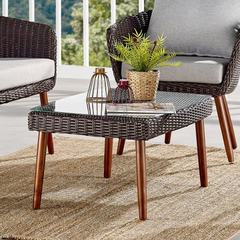 Caluma Outdoor Wicker Glass Top Coffee Table by Havenside Home