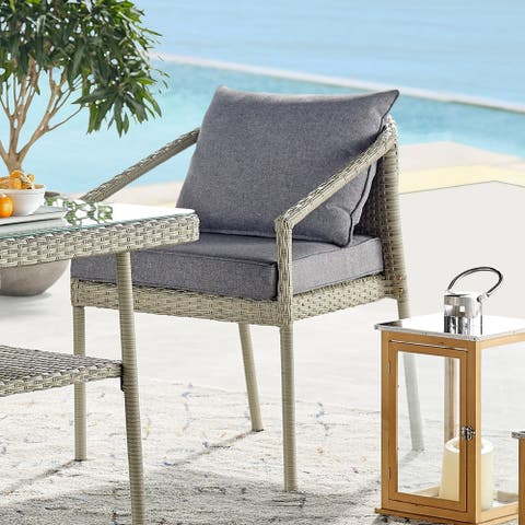 Lachica Light Grey Outdoor Wicker Cushioned Chairs (Set of 2) by Havenside Home