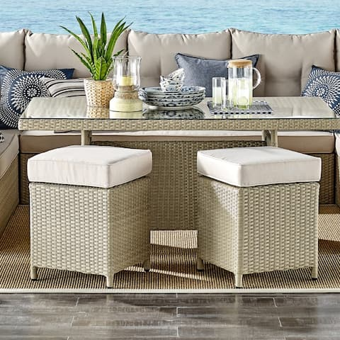 Lawayon Wicker Square Stools with Cushions (Set of 2) by Havenside Home