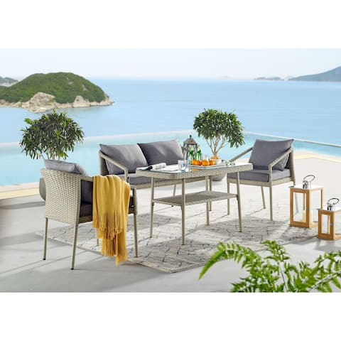 Lachica 4-piece Wicker Cocktail Table Conversation Set by Havenside Home