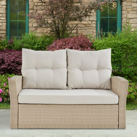Lawayon Outdoor Wicker Loveseat with Cushions by Havenside Home