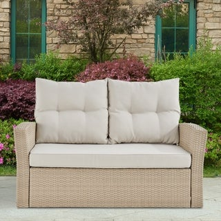 "Canaan All-Weather Wicker Outdoor 48""L Two-Seat Love Seat with Cushions"