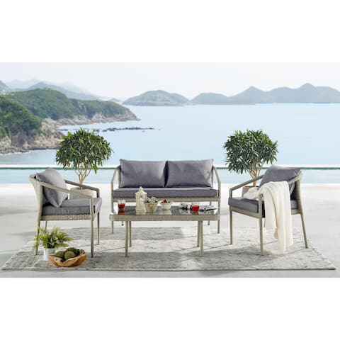 Lachica 4-piece Wicker Coffee Table Conversation Set by Havenside Home