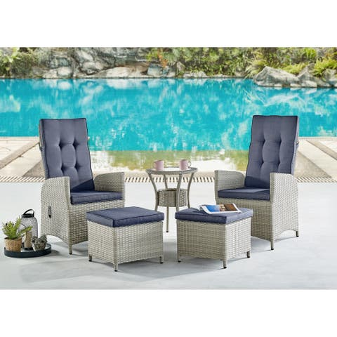 Lamitan Wicker 3-piece Recliners with Ottomans and Table Set by Havenside Home