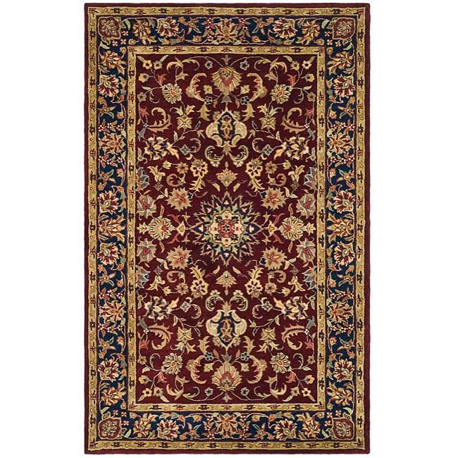 Safavieh Handmade Classic Kerman Burgundy/ Navy Wool Rug (4' x 6')