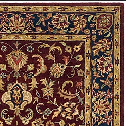 Safavieh Handmade Classic Kerman Burgundy/ Navy Wool Rug (4' x 6') - Thumbnail 1