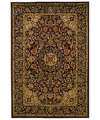 Safavieh Handmade Classic Kerman Burgundy/ Navy Wool Rug - 6' x 9'