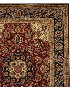 Safavieh Handmade Classic Kerman Burgundy/ Navy Wool Rug (7'6 x 9'6) - Thumbnail 1