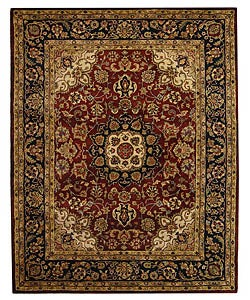 Safavieh Handmade Classic Kerman Burgundy/ Navy Wool Rug (7'6 x 9'6)