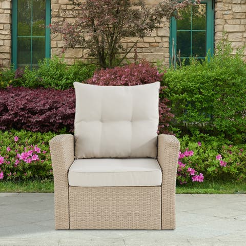 Lawayon Outdoor Wicker Armchair with Cushions by Havenside Home