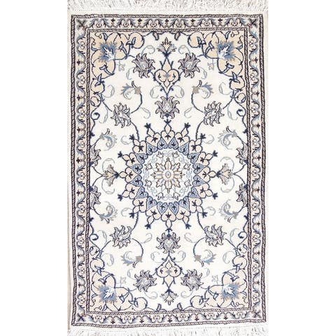 """Nain Medallion Hand Knotted Wool Carpet Traditional Persian Area Rug - 4'8"""" x 2'11"""""""