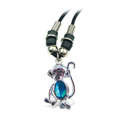Puzzled Aqua Monkey Wild Style Necklace 18 Inch
