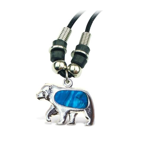 Puzzled Aqua Bear Wild Style Necklace, 18""