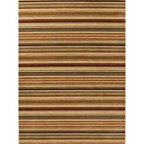 """Stripes Modern Transitional Polyester & Jute Turkish Casual Area Rug - 10'10"""" x 7'10"""""""