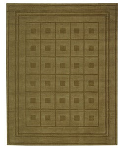 Safavieh Handmade Blocks Green New Zealand Wool Rug (9' x 12')