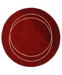 "Safavieh Handmade Rodeo Drive Modern Abstract Red/ Ivory Wool Rug - 5'9"" x 5'9"" round"