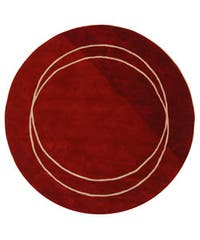 "Safavieh Handmade Rodeo Drive Modern Abstract Red/ Ivory Wool Rug - 7'9"" x 7'9"" round"