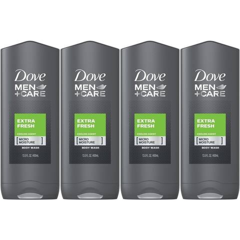 (4 Pack) NEW Dove Men and Care Body and Face Wash Extra Fresh 13.50 Ounces