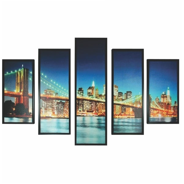 5 Piece Wooden Wall Decor with New York City Bridge, Multicolor